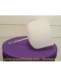 """Bol de cristal """"givré"""" 20 cm - """"Ré"""" 292,5 Hz avec poignée"""
