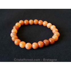 Bracelet boule 8 mm - Aventurine orange