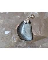 Pendentif Obsidienne argentée