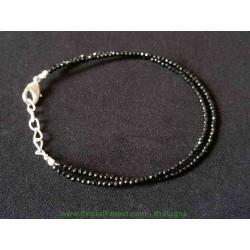 Double Bracelet Spinelle noire- Billes facétées  2mm