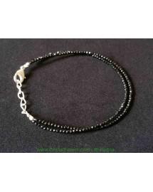 Bracelet Spinelle noire facétées