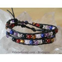 Bracelet boule 6 mm des 7 chakras, doublé sur cuir