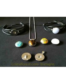 Cabochon -Obsidienne oeil céleste clipsable