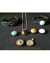 Cabochon- labradorite Arc-en-ciel (ex pierre de lune) - clipsable pour bijoux interchangeables