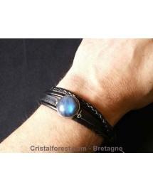"""Bracelet """"jonc"""" en cuir réglable - Mixte H/F - pour bijoux interchangeable"""