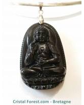 Pendentif Obsidienne Noire & Bouddha