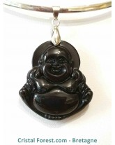 Obsidienne Noire - pendentif Bouddha rieur