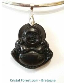 Pendentif Obsidienne Noire & Bouddha rieur