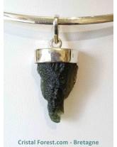Pendentif Moldavite & argent 925 - 3,1 cm
