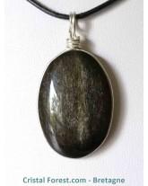 Pendentif d' Obsidienne dorée