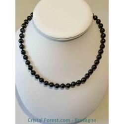 Collier Spinelle noire - Boules 8 mm