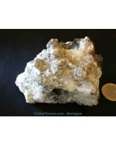 Quartz chlorite sur ganque avec rutile et cuivre
