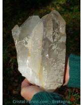 Quartz cathédrale fumé et cristal de roche brut 22 cm - 2,8 kg