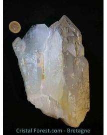 Quartz cathédrale fumé et cristal de roche brut 22 cm