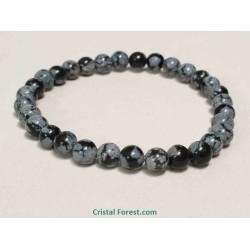 Obsidienne neige - Bracelet boule 6 mm