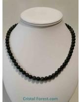 Collier boules 8 mm - Obsidienne Oeil céleste & argent- 47 cm