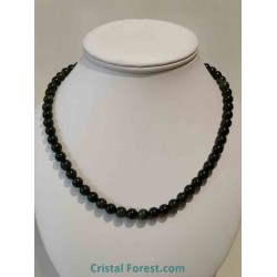 Obsidienne Oeil céleste & argent - Collier boules 8 mm - 47 cm