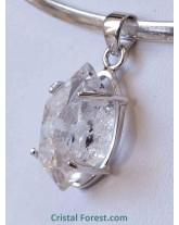 Pendentif - Cristal diamant d'Herkimer serti argent 925 - 2,1 cm