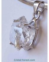Pendentif - Cristal diamant d'Herkimer serti argent 925 - 1,7 cm