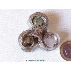 Orgonite - Triskèle - Thérapeute (Aventurine, quartz rose et Labradorite)