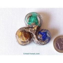 Triskèle d'Orgonite - anti douleur (lapis-lazuli, malachite et oeil de tigre)