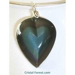 Pendentifs coeur obsidienne arc-en-ciel (oeil céleste) extra