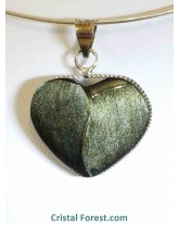 Pendentifs coeur et Yin Yang d'Obsidienne dorée
