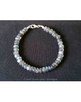 Bracelet de Labradorite extra + fermoir en argent