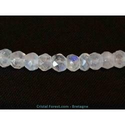 Labradorite Arc-en-ciel (ex pierre de lune) - Collier-Boules facettées 5 mm-Fil acier-Fermoir argent