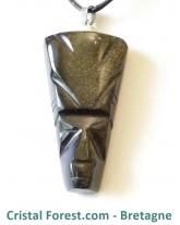 Obsidienne dorée - Pendentif aztèque