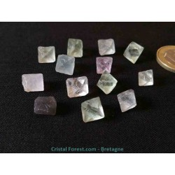 "Pierre brute ""octaèdre"" de Fluorite (Fluorine) - de 1 à 2,3 cm"