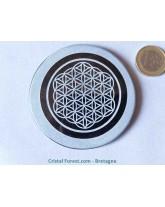 Petit disque d'Obsidienne noire & fleur de vie gravée