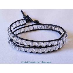 Bracelet de Cristal de roche doublé sur cuir - Boules 6 mm