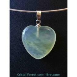 Pendentif coeur en Jade de Chine / Serpentine