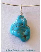 pendentif de Turquoise de Chine - avec bélière couleur argent