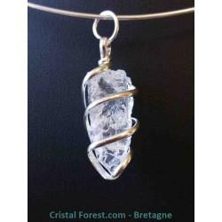Pendentif de Cristal de roche - Pierre cerclée