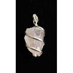 Quartz rose - Pendentif pierre cerclée