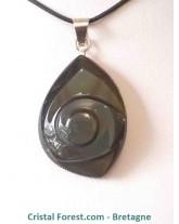 Pendentifs spirales d'obsidienne arc-en-ciel (oeil céleste) - bélière argentée