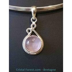 Pendentifs quartz rose - sertissage argent en goutte
