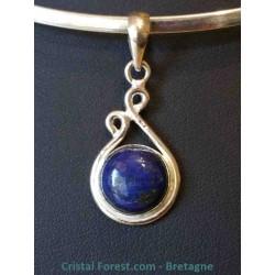 Lapis lazuli - Pendentifs sertis argent en goutte