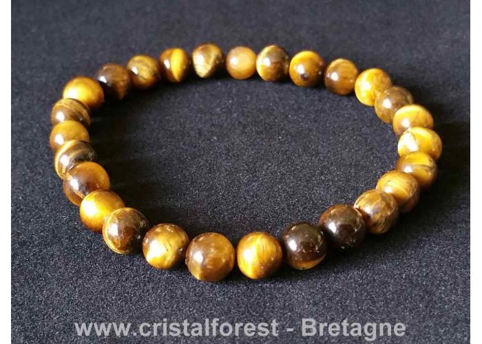Oeil de tigre - Bracelets boules - boules 6 - 7mm / Long 17 cm / 10 gr