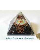 Pyramide Orgonite, Shungite & fleur de vie 7,2cm