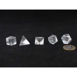 Set des 5 solides de Platon - Cristal de roche - 1,7 à 2,2 cm
