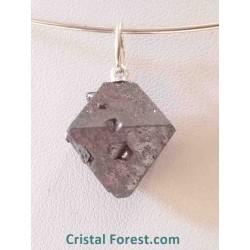 Magnétite brute (pierre d'aimant) - Pendentif ocatèdrique
