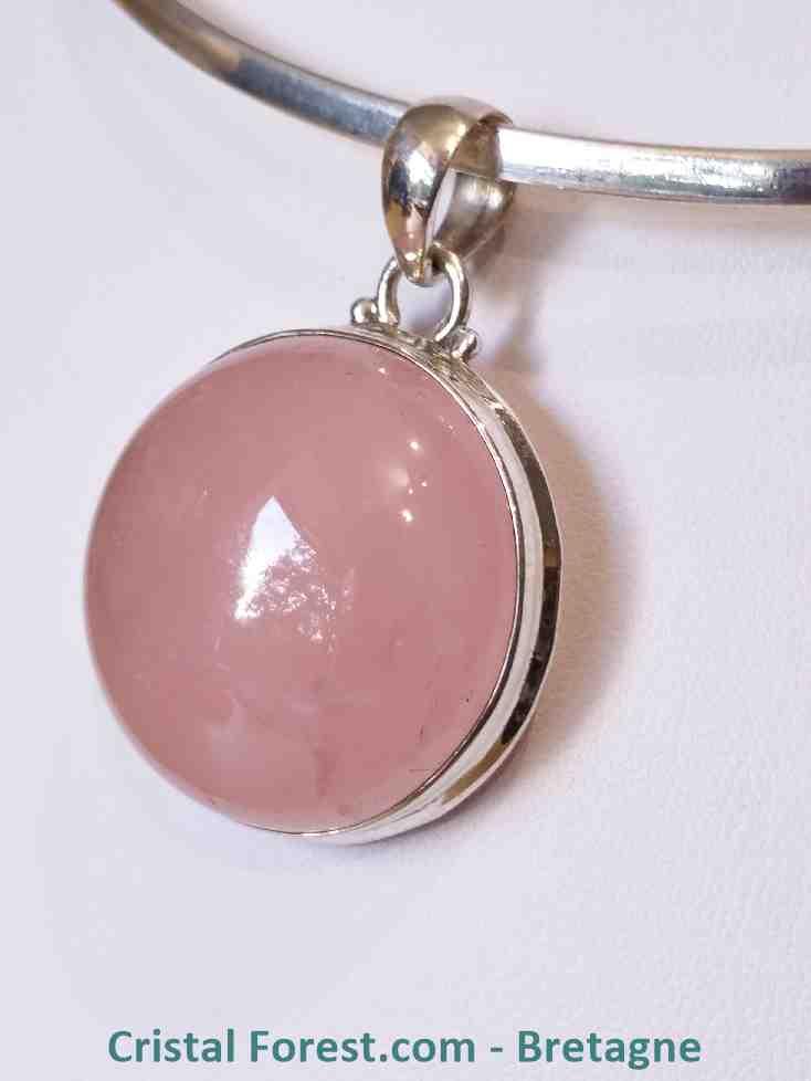 Pendentif quartz rose